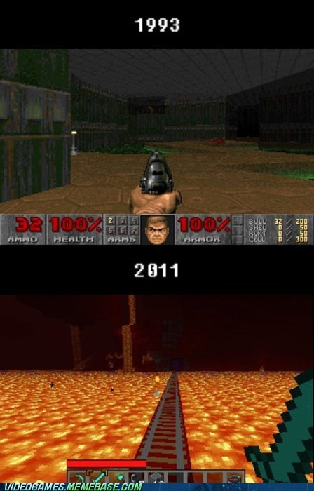 doom,gaming,minecraft,over time,pixels,the internets