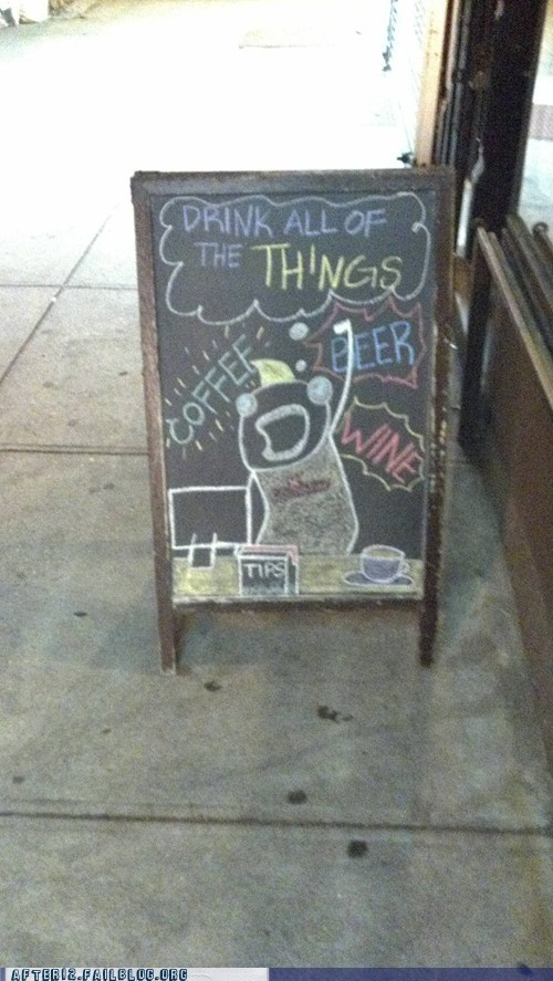 all the things,bar,chalk sign,restaurant,sign