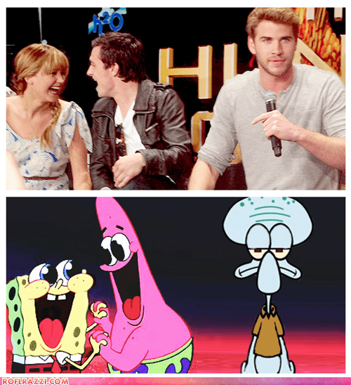 actor,animation,celeb,funny,jennifer lawrence,josh hutcherson,liam hemsworth,SpongeBob SquarePants