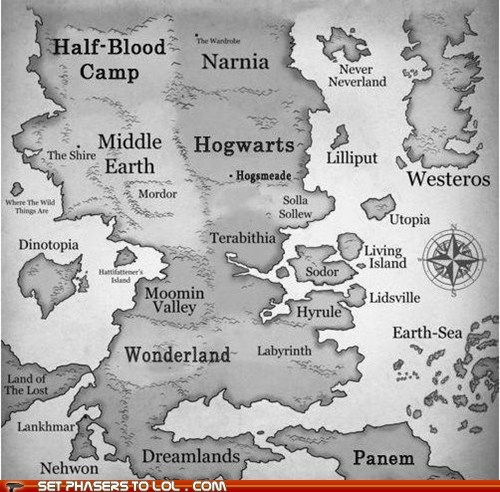 best of the week fantasy Game of Thrones Harry Potter Hogwarts hunger games Lord of the Rings middle earth mordor narnia panem Westeros wonderland world map