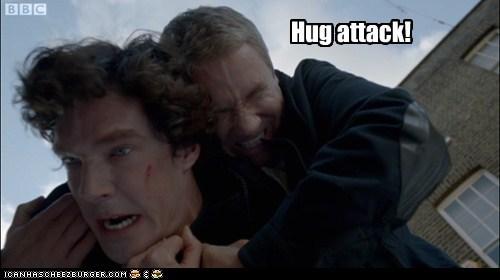 attack,benedict cumberbatch,hug,Martin Freeman,Sherlock,sherlock bbc,Watson