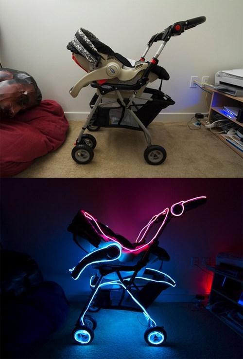 baby stroller,light cycle,movies,stroller,tron