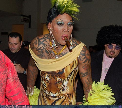 cigar Dennis Rodman tattoos tiger shirt weird