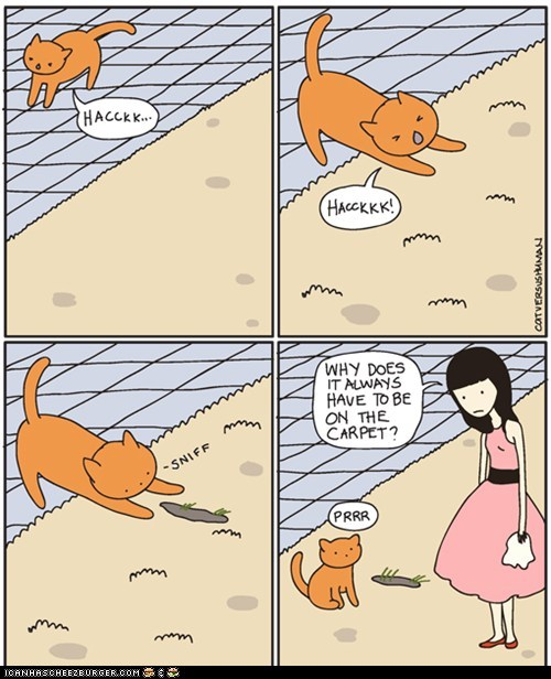 barf carpet cat versus human Cats comic comics floor gross messy - 6032375552