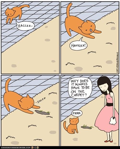 barf carpet cat versus human Cats comic comics floor gross messy - 6032375552