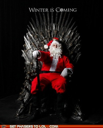 a song of ice and fire,Game of Thrones,iron throne,santa claus,Winter Is Coming