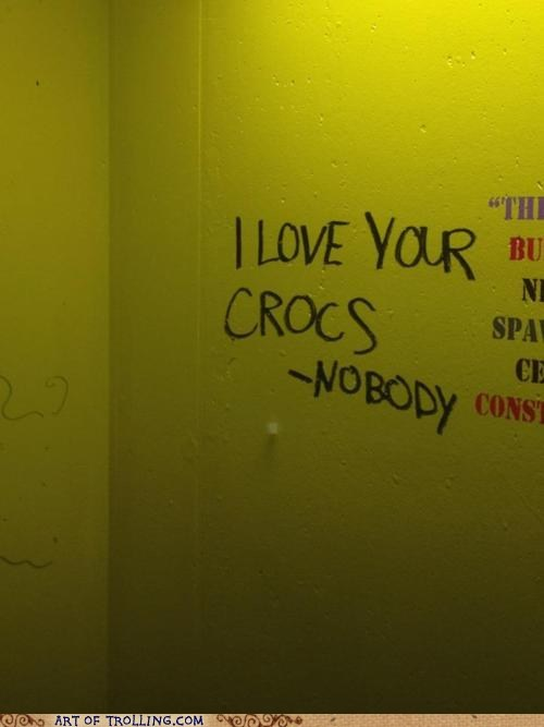 crocs,graffiti,IRL,quotes,truth,wall