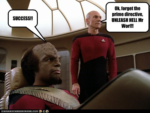 Captain Picard,hell,Michael Dorn,patrick stewart,prime directive,Star Trek,success,Worf