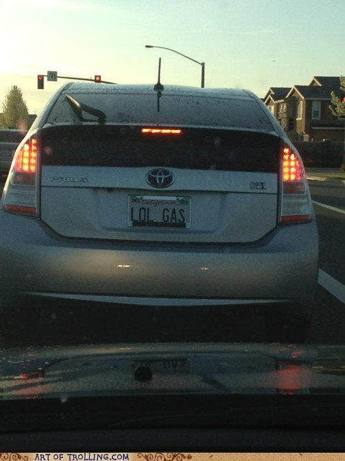 gas IRL license plate Prius