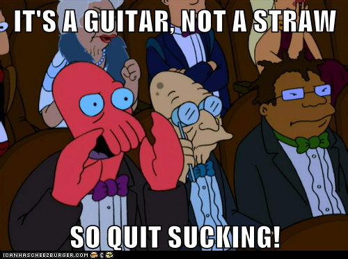 bad,boo,futurama,guitar,hermes,insult,professor farnsworth,straw,sucking,Zoidberg