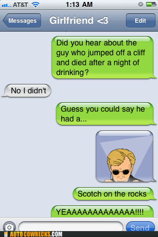 csi,Death,drinking,joke,scotch,suicide,sunglasses