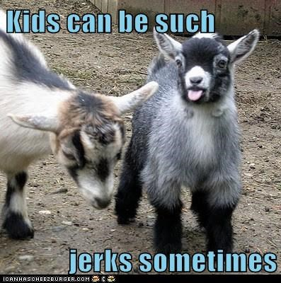 baby goat,best of the week,goat,goats,Hall of Fame,jerks,kids,mean,puns,raspberry,Sad,spit,tongue out,tongues