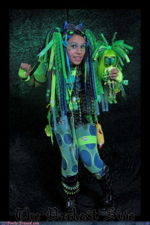 black light,blue doll,costume,green,neon,rave