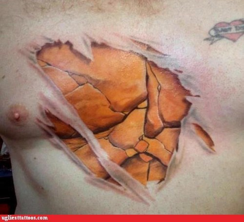 chest tattoo Fantastic Four superheroes tattoo WIN The Thing - 6034959616