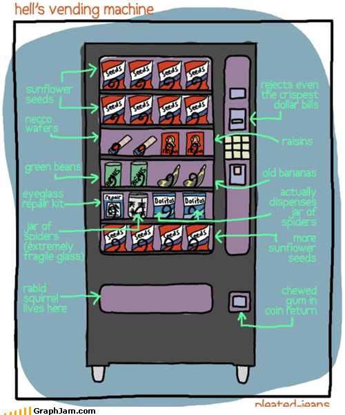 hell,spiders,sunflower seeds,vending machine
