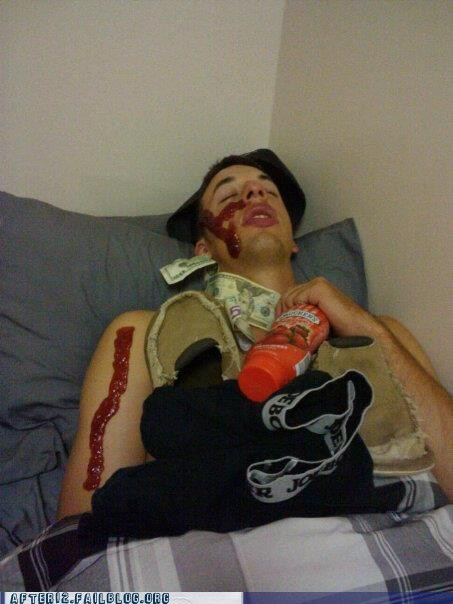 ketchup,money,passed out,prank