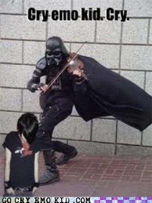 cry,darth vader,emolulz,star wars,violin