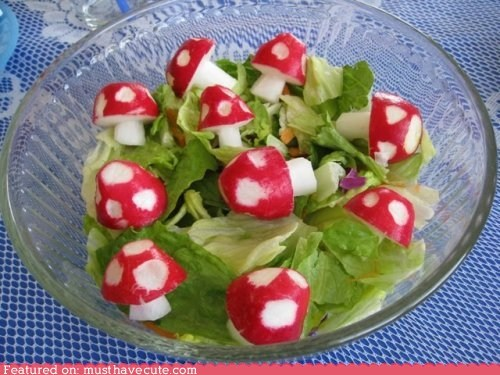 carved epicute Mushrooms radishes salad smurfs