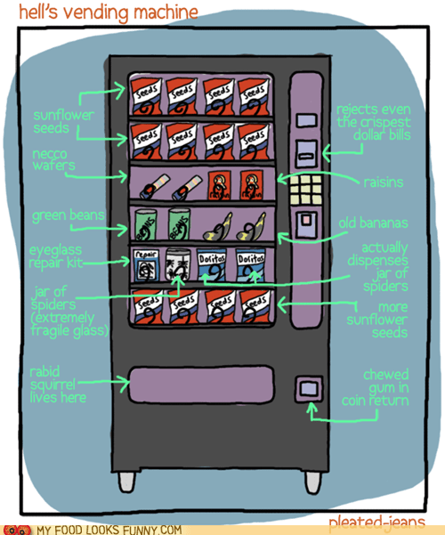 awful,hell,spiders,useless,vending machine