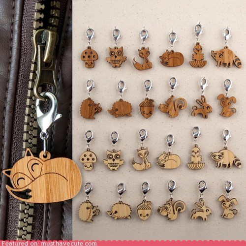 animals burned carved wood Zipper Pulls