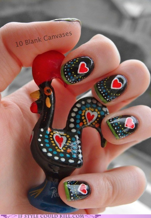 cool accessories,dots,hearts,nail art,nails