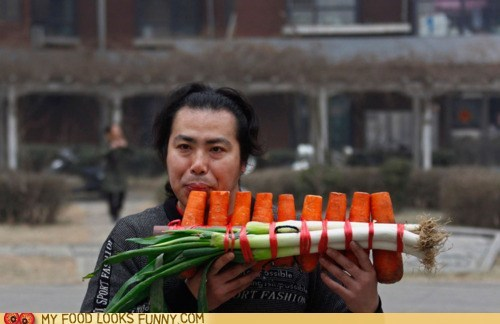 carrots,flute,instrument,leeks,Music,vegetables