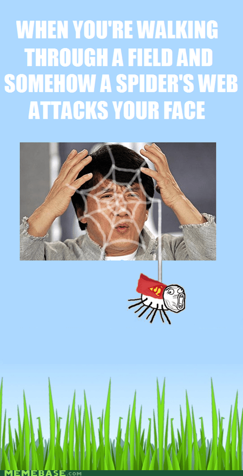 face,Jackie Chan,my brain is full,Rage Comics,spider,web
