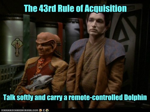 The 43rd Rule of Acquisition Talk softly and carry a remote-controlled Dolphin