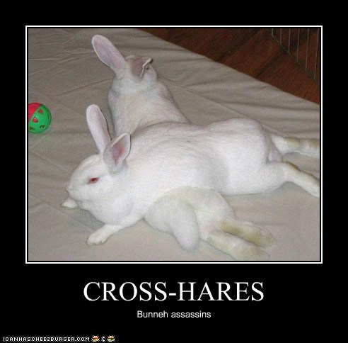 assassins bunnies bunny crosshair crosshairs guns hares puns sights - 6038842880