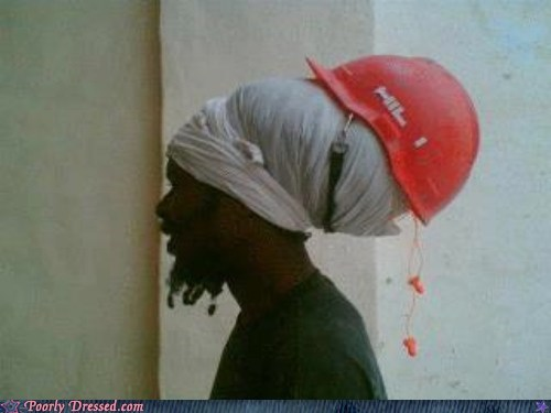hair hardhat odd safety first Safety Last weird
