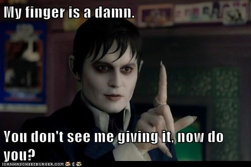 barnabas collins,dark shadows,finger,give a damn,Johnny Depp