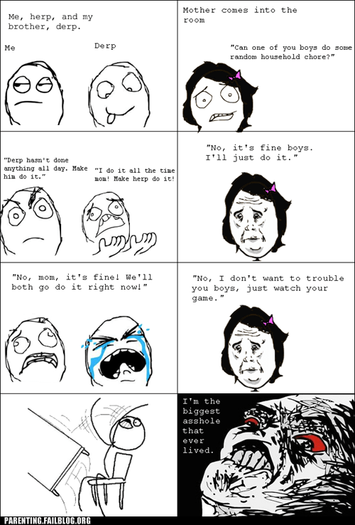 brother,chores,derp,herp,rage comic