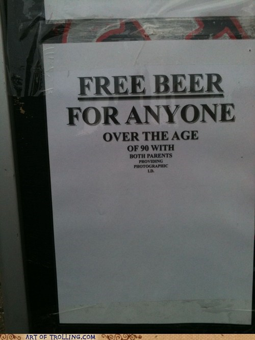 beer free IRL sign - 6039753216