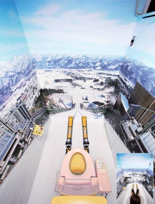 bathrooms,skis,ski jumps