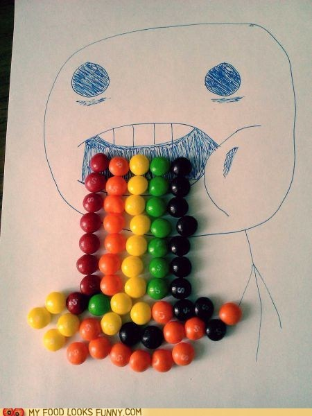drawing drool rainbow skittles