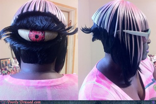 eye eyeball hair hairstyle odd pink wtf - 6040130816