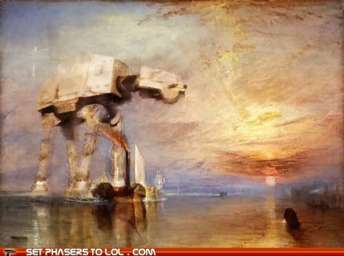 art,at at,beautiful,painting,star wars,sunset,walker