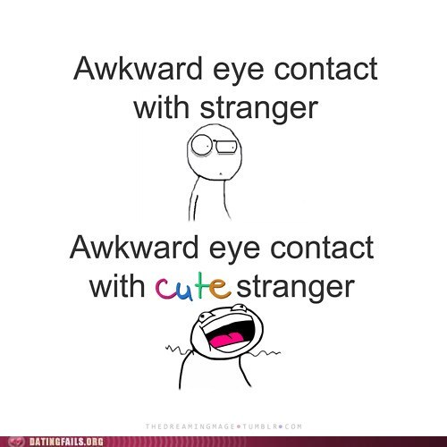 Awkward,cute strangers,eye contact