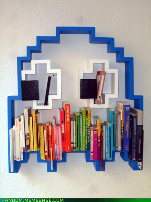 blue ghost bookshelf Fan Art pac man video games - 6040794112