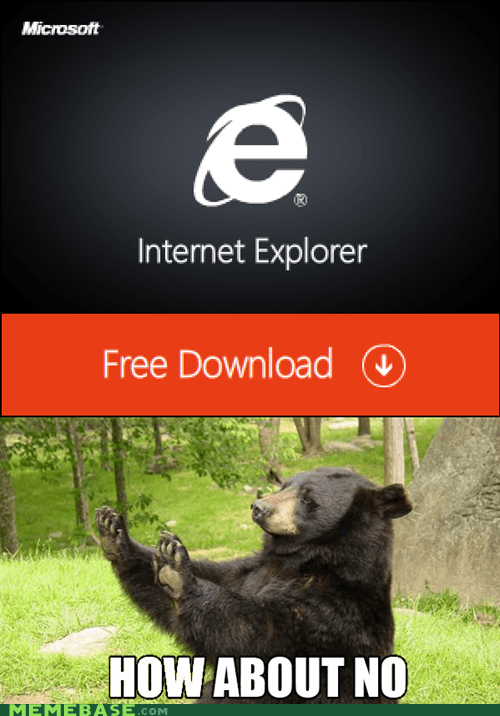 bear,browser,download,free,internet explorer,Memes,nope