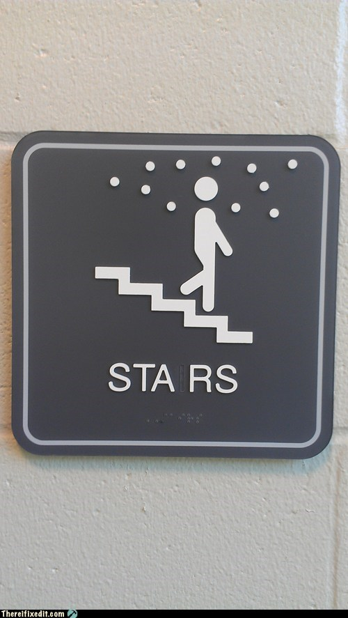 braille sign stairs stars
