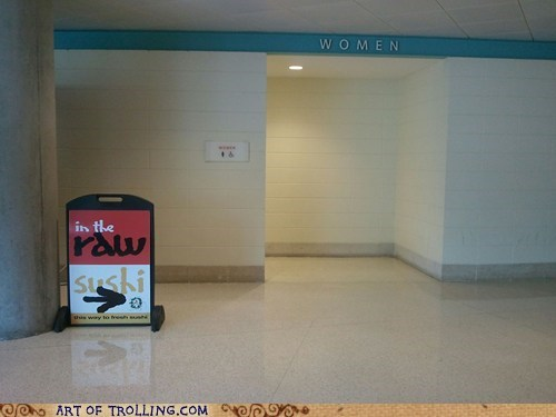 bathroom,IRL,sign,sushi,women