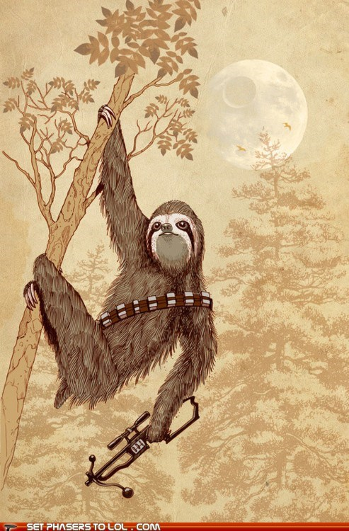 chewbacca,crossbow,cute,painting,sloth,wookie