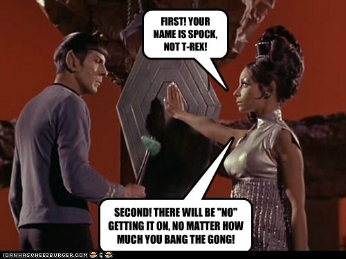 "FIRST! YOUR NAME IS SPOCK, NOT T-REX! SECOND! THERE WILL BE ""NO"" GETTING IT ON, NO MATTER HOW MUCH YOU BANG THE GONG!"