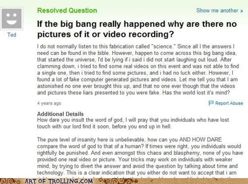 bible,big bang,Memes,proof,Yahoo Answer Fails