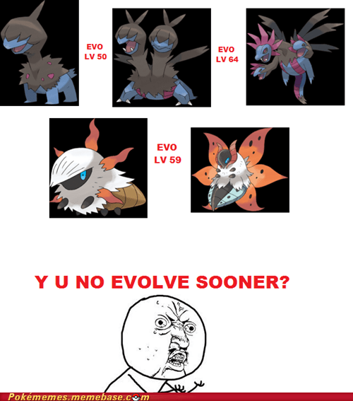 evolution,Evolve,hydreigon,meme,volcarona,Y U No Guy