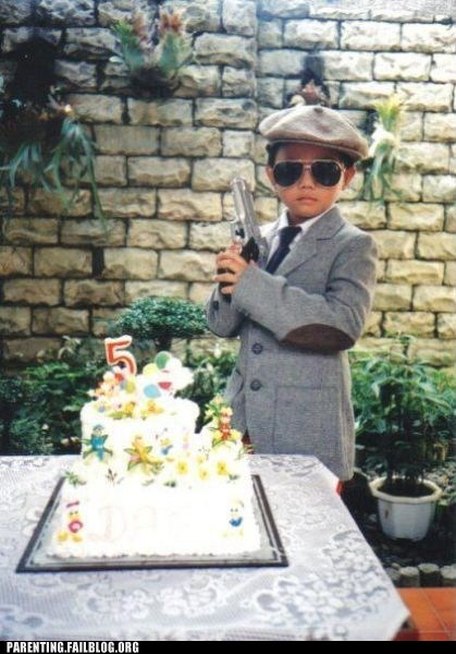baby,birthday,cake,five year old,gangster,gun