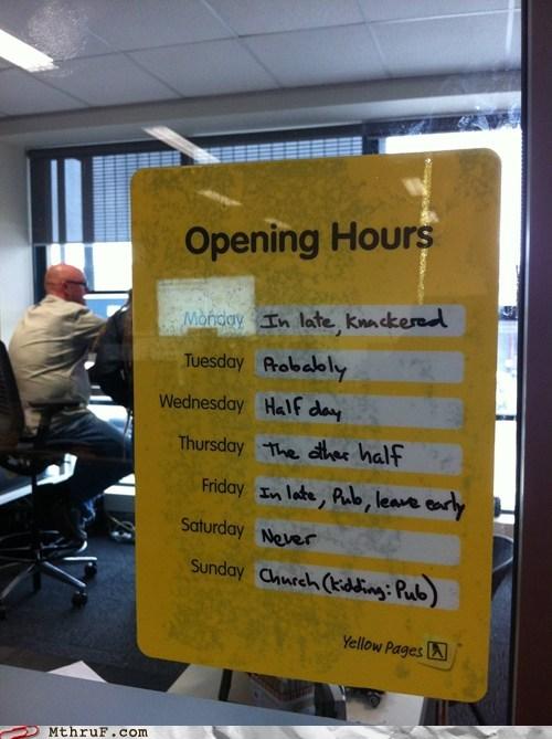 schedule hours opening hours - 6044486912