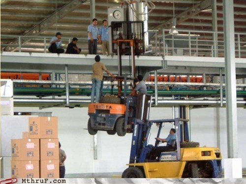 bad idea,dangerous,fork lift,hardhat,wtf