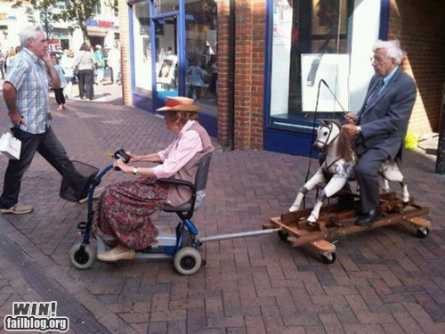 elderly,g rated,Hall of Fame,old people rock,rocking horse,scooter,whee,win